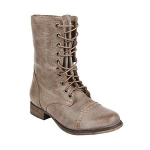 STEVE MADDEN Troopa Leather Combat Moto Boot Stone